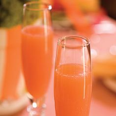 Blushing Mimosas: 2 cups Florida orange juice; 1 cup pineapple juice, chilled; 2 tablespoons grenadine; 1 bottle Champs.