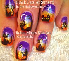 2 Nail Art Tutorials   DIY Halloween Nails   Cute Black Cats & Moons!!!