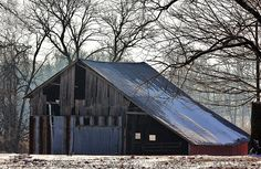 Old Country Barn Snowy Snow Winter Barn by BlueHeronPhotography, $25.00
