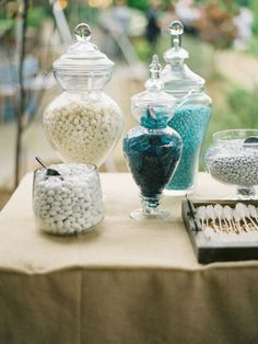 baby shower ideas, candies, sweet tabl, wedding colors, blue party, candy jars, baby showers, parti, candi bar
