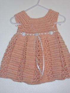 Free Baby Girl Crochet Dress | Ribbon & Lace ... by CraftingFriends | Crocheting Pattern