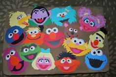 Handmade Sesame Street Characters. Initially, I made these for the kids to use as masks for a cute picture. After the hours and hours it took me to make these, I'm going to laminate them and hang them in her room.