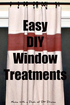 Easy DIY Curtains: canvas for curtains-relatively cheap and plenty long enough.  What an easy way to make no-sew window treatments.