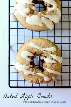 A healthier version of donuts for the fall! Baked Apple Donuts with a Cardamom Cream Cheese Glaze | www.joyfulhealthyeats.com #fallrecipes #applerecipes