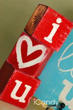 valentine day ideas, tutorials, little crafts, heart, wood blocks