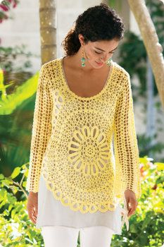 Crochet Blossom Top with offset round motif or doily-like motif