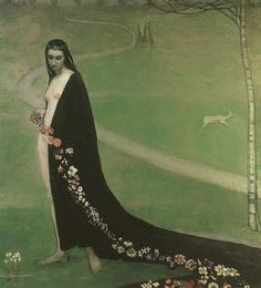 Femme avec des fleurs  (spring) by T. Van Fieson