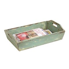 A weathered tray makes a great place for corralling reading material for guests. | $48