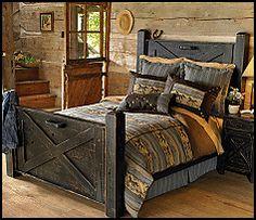 Google Image Result for http://kidsthemebedrooms.com/equestrian/Black_Distressed_Barn_Door_Bed-unique_furniture_rustic_style_horse_theme_bedroom_design_ideas.gif Headboard, Idea, Bed Frames, Beds, Barn Doors, Hous, Barns, Bedroom, Barn Wood