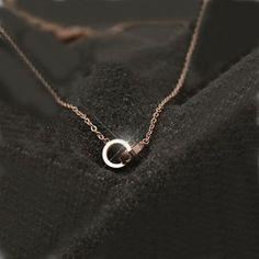 New Fashion Mini Double Rings Pendant Women's Necklace