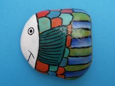 Swimming Fish Hand Painted Stone Pebble by MiowandMolly on Etsy, £4.99