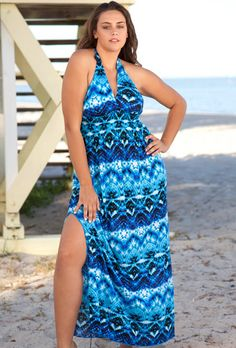 Beach Belle® Blue Aztec Halter Maxi Dress