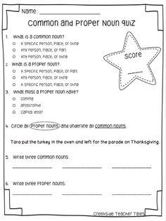 common & proper nouns pre-test