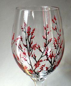 Hand Painted Wine Glass winter berries by NewHopeElizabeth on Etsy, $20.00