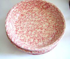Set of Four Roseville Pottery Spongeware Bowls