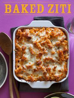 A recipe for Baked ziti with marinara and Italian sausage.