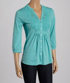 Blue Turquoise Crocheted Three-Quarter Sleeve Button-Up -