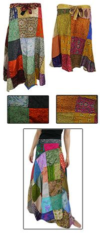 Recycled Sari Wraparound Skirt at The Hunger Site