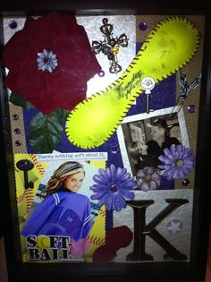 A shadow box we made for our son's girlfriend on her last softball game of her senior year.