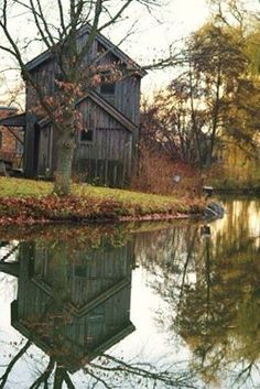 Old Barns... Love the reflection