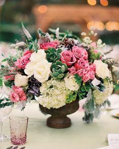 Hydrangeas, roses, succulent centerpiece