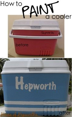 How to paint a cooler. Don't throw your ugly cooler away. Give it a face lift with some paint! Tutorial at houseofhepworths.com