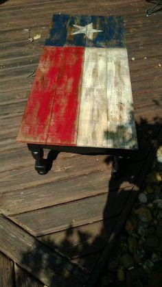 Repurposed coffee table Texas flag