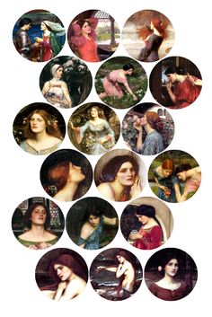 "John Waterhouse Fantasy Women #1 Bottle cap image pack Formatted for printing on 4"" x 6"" photo paper"