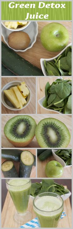 green juice to help detox-apples, cucumbers,kiwi,pineapple and spinach