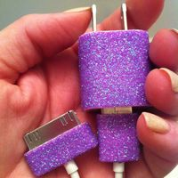 iPhone Charger (customized glitter charger) I'm totally doing this! DIY glitter iPhone charger. Mod podge, glitter, let dry. Repeat. Finish off with clear acrylic sealer.