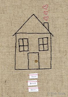 Home Sweet Home Embroidery freemotion framed by PinkCouchUK, £38.00