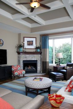 Corner fireplace with TV stand beside it - first arrangement I've seen that I like, might try this in my living room! furniture arrangement, idea, curtains, living rooms, colors, fireplace design, corner fireplaces, gas fireplaces, live room