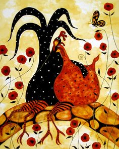 Animal Folk Art Paintings | Hubbs Art Folk Prints Whimsical Farm Animals Fowls Chicken Rooster ...