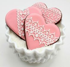 Heart lace Valentine's Day cookies