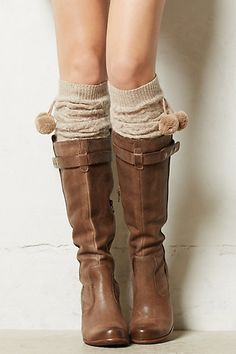 cabl leg, pom poms, boot sock, riding boots, legs, winter fashion, brown boots, clothing styles, leg warmers