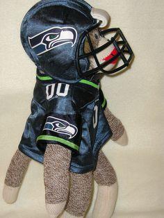 Seattle SEAHAWKS Football Sock Monkey Doll  by sockmonkeyangel, $38.00