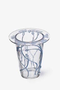 ❤ - René Jules Lalique |Vase [Bordure bleuets] by René Lalique, France circa 1913