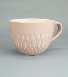 Ceramic stoneware cup coffee tea mug - unique handmade serving decorative textured kitchen pottery modern morning coffee - ecru pink