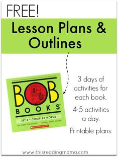 FREE Lesson Plans and Outlines for BOB Books Set 4 | This Reading Mama