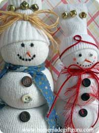 Learn how to make a sock snowman for easy holiday craft gift ideas...