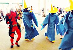 Deadpool Dances with Black Mages. Comic-Con is a magical place.. dancing, comic books, Final Fantasy, dance, Superheroes, comiccon, gif, deadpool, black mage, cotumes