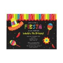 Mexican Fiesta Birthday Party Invitations by LittleSeiraStudio