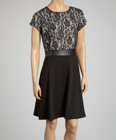 Love this Beige & Black Faux Leather Trim Lace Dress - Women by AA Studio on #zulily! #zulilyfinds
