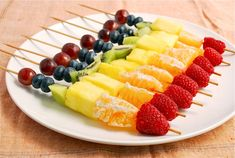 Rainbow Fruit Skewers  Fruit is always a great snack for kids. It delivers vitamins, contains natural sugars, and kids always like the flavors. These rainbow skewers give fruit a playful twist and make it easy for your child to eat the very nutritious rainbow you've packed.