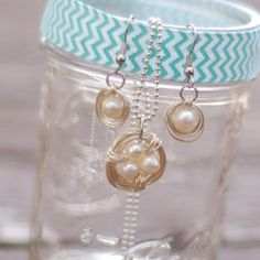 These DIY earrings and DIY necklace in the Pearl Bird's Nest DIY Jewelry Set are simply elegant. If you are looking for some classic pearl DIY jewelry pieces with a twist of their own, then these two projects are just for you.