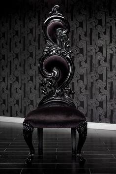 Black Velvet Baroque High Back Chair
