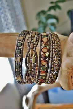 MAGIC FOREST 4 Wrap Kansa Leather Bracelet by BraceletsofBlueRidge, $96.00