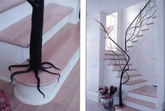tree banister interior, stairway, stair design, root, metal, dream, hous, wrought iron, tree branches