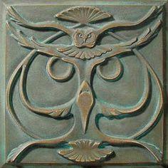 Bronze Art Nouveau Owl Tile ~ Lewellen Studio