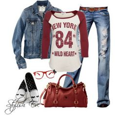 Jean Outfits for Women by Stylish Eve  LOVE outfits with jeans!  Also love baseball tees like this one! :)
